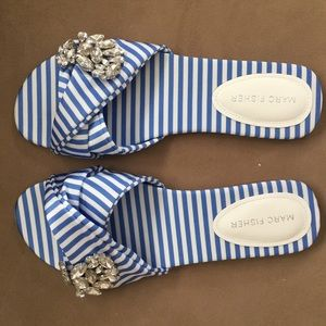 Marc Fisher Never been worn striped flat sandal